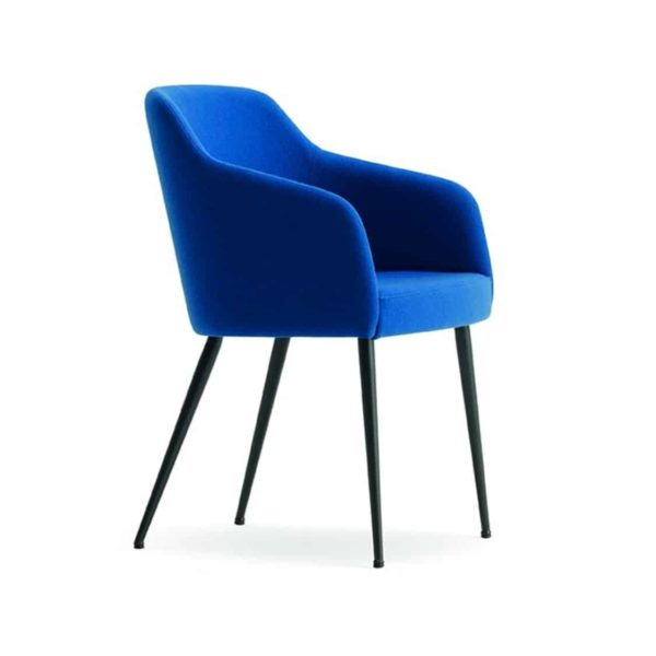 Yvonne Armchairs From DeFrae Contract Furniture Blue With Metal Frame