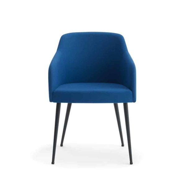 Yvonne Armchairs From DeFrae Contract Furniture Blue With Metal Frame Hero Image