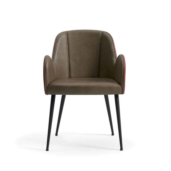 Yvonne Armchairs From DeFrae Contract Furniture Brown Faux Leather Pleater Back and Metal Frame