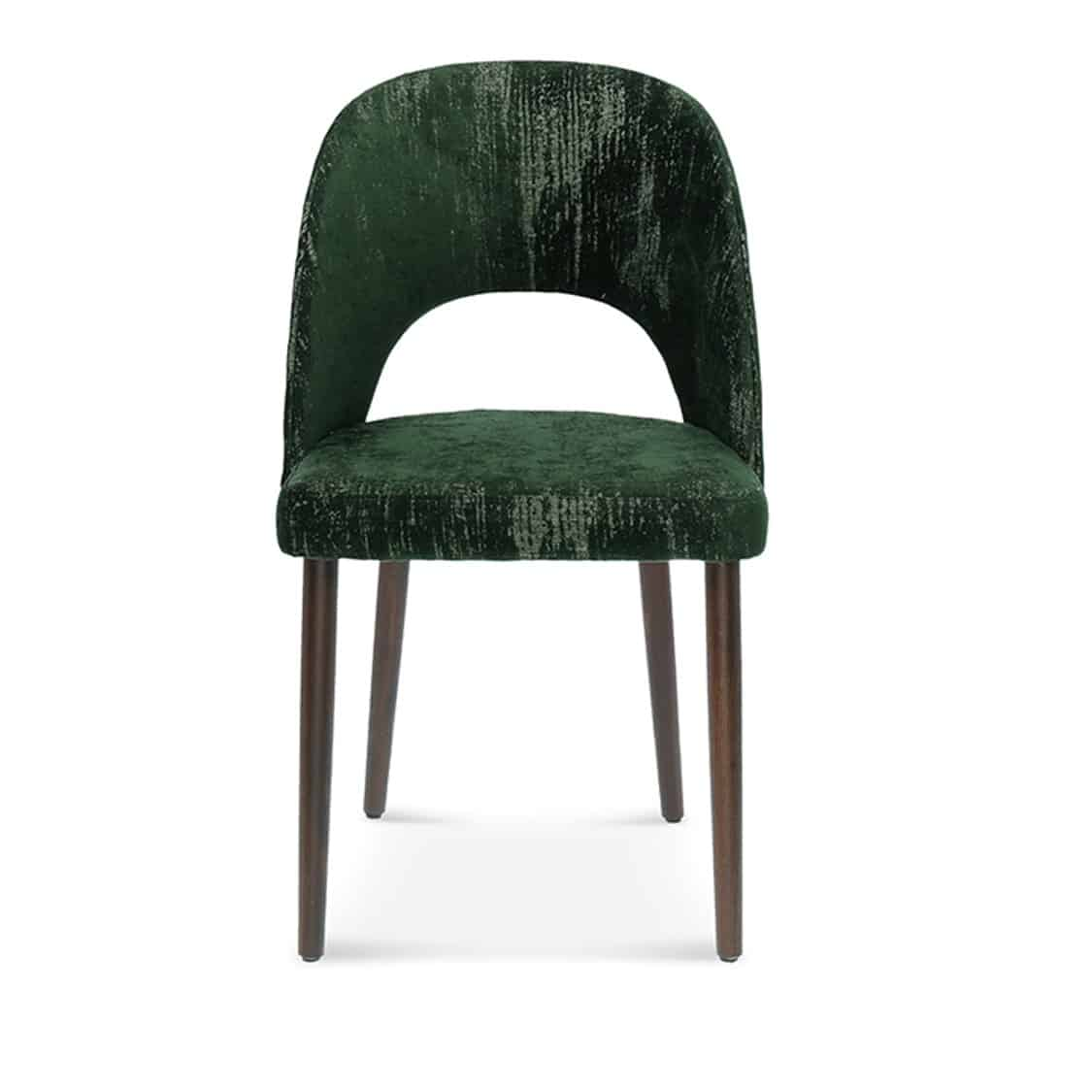 Alora side chair with open half moon back.