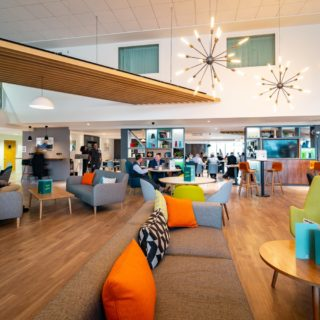 Bar and Coffee Shop Furniture at Holiday Inn Winchester by DeFrae Contract Furniture