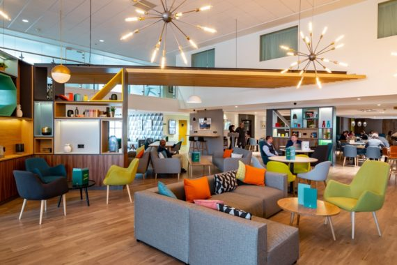 Coffee Shop Cafe Area Holiday Inn Hotel Winchester DeFrae Contract Furniture Upholstery
