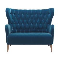 Duke Sofa ContractIn at DeFrae Contract Furniture Button Back Blue Velvet