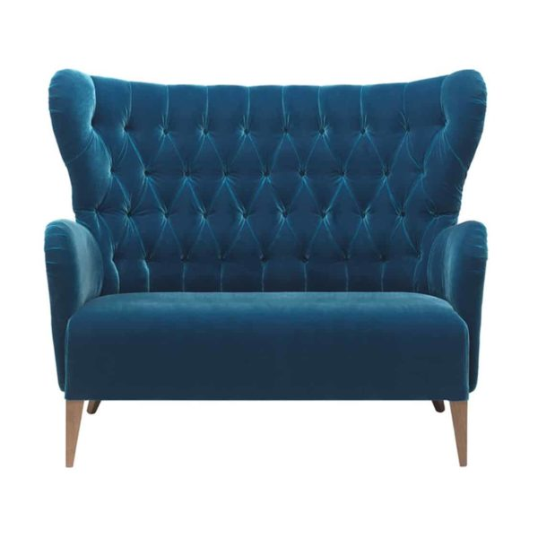Duke Sofa ContractIn at DeFrae Contract Furniture Button Back Blue Velvet
