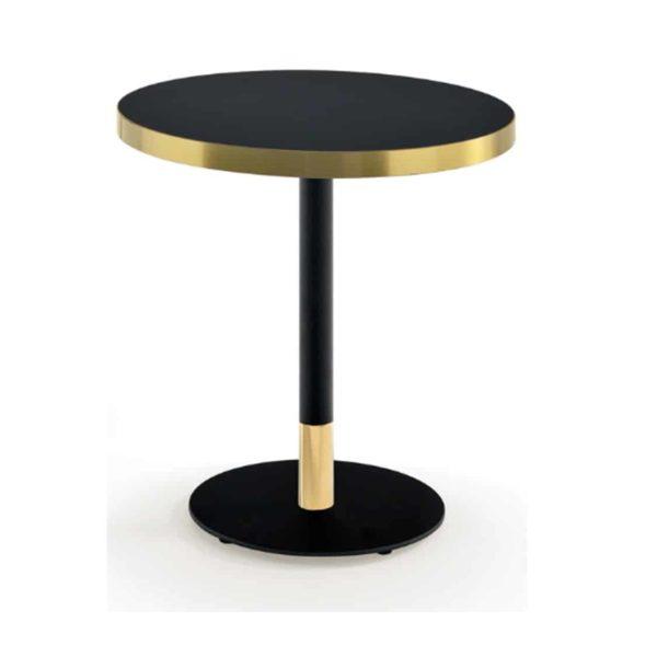 Duplex Corbetta Table With Brass Edging Black Round Base