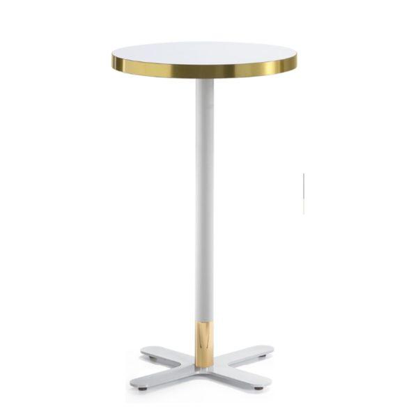 Duplex Corbetta Table With Brass Edging White Poseur Table 4 Leg