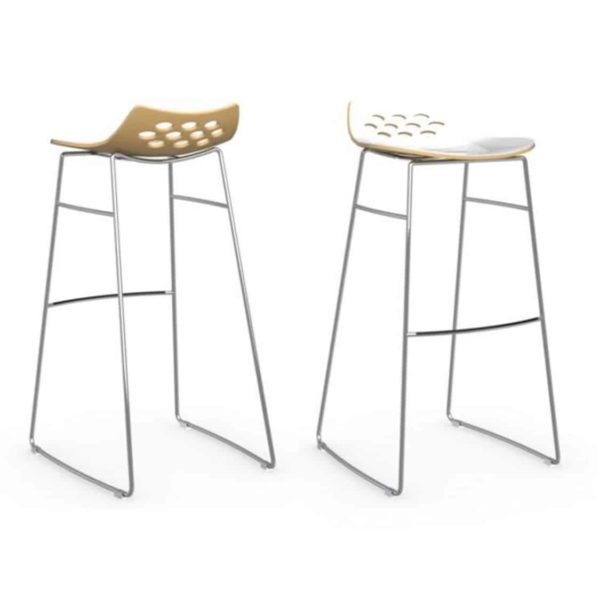 Jam Bar Stool Sled Base Metal Frame Connubia by Calligaris at DeFrae Contract Furniture