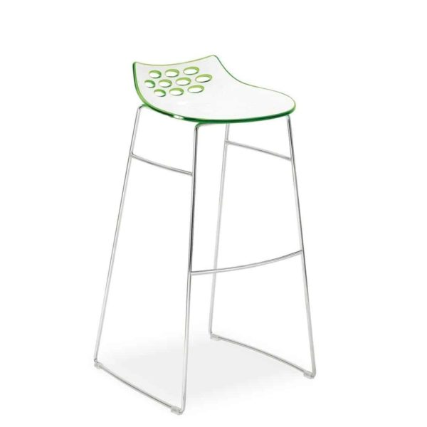 Jam Bar Stool Sled Base Metal Frame Connubia by Calligaris at DeFrae Contract Furniture Green