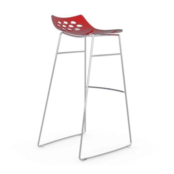 Jam Bar Stool Sled Base Metal Frame Connubia by Calligaris at DeFrae Contract Furniture Red