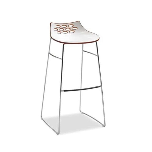 Jam Bar Stool Sled Base Metal Frame Connubia by Calligaris at DeFrae Contract Furniture Red Front