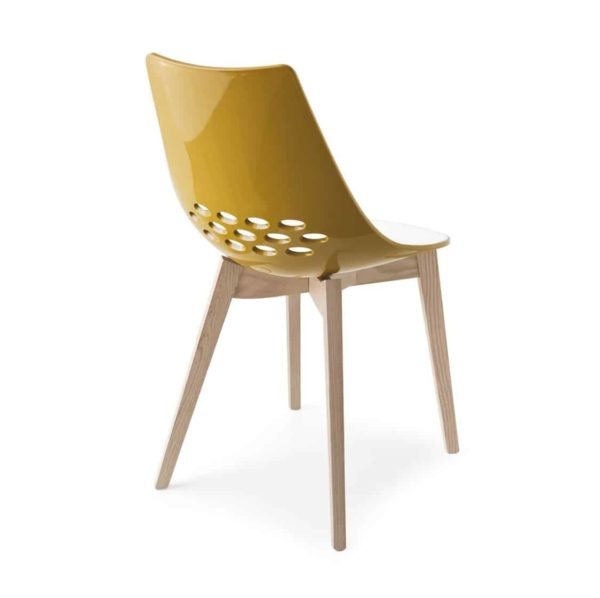 Jam W Chair Wood Frame Connubia by Calligaris at DeFrae Contract Furniture Oak Frame Yellow