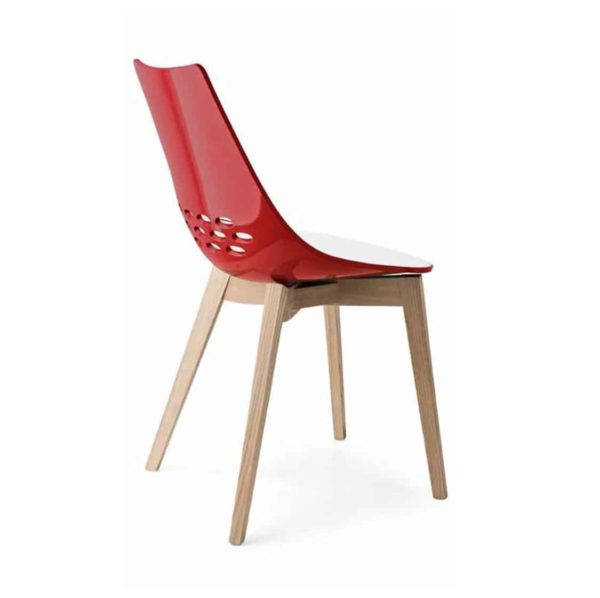 Jam W Chair Wood Frame Connubia by Calligaris at DeFrae Contract Furniture Red