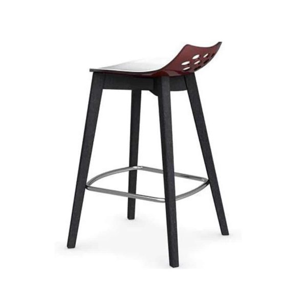 Jam W Bar Stool Connubia by Calligaris at DeFrae Contract Furniture Black Wooden Frame Red Seat