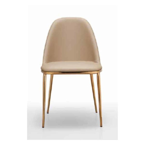 Lea side chair with brass gold frame Midj at DeFrae Contract Furniture front