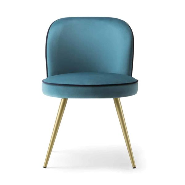 Manhattan Side Chair hair with Brass legs velvet Candy by DeFrae Contract Furniture
