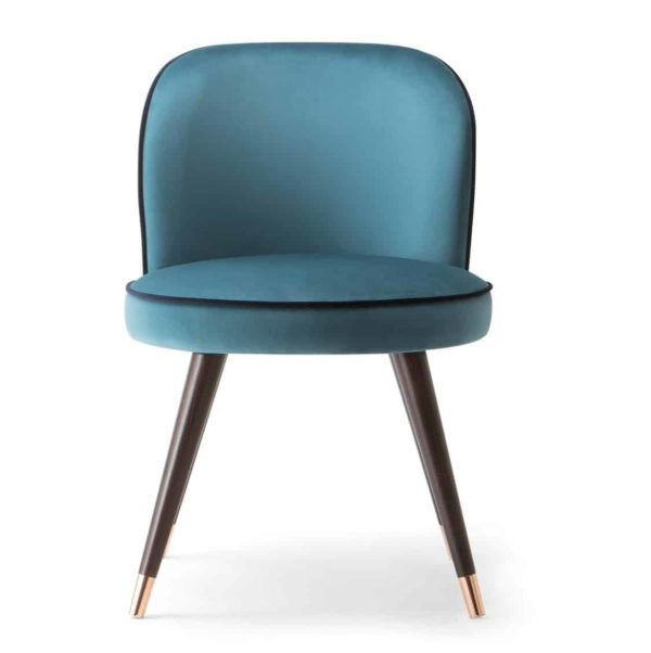 Manhattan Side Chair hair with Brass shoes velvet Candy by DeFrae Contract Furniture