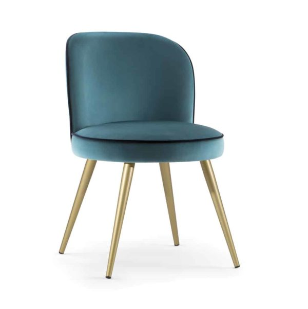 Manhattan Side Chair hair with Brass shoes velvet Candy by DeFrae Contract Furniture Hero