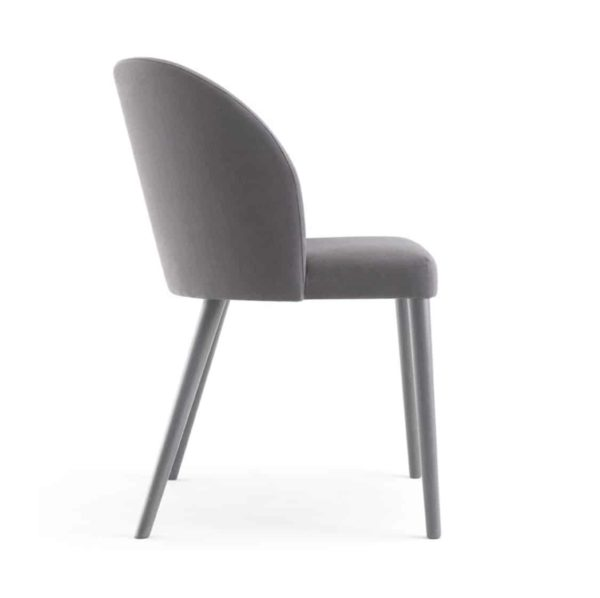 Camille Side Chair Malina at DeFrae Contract Furniture Wooden Legs Side View Grey