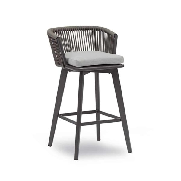 Supa roped back outdoor bar stool available from DeFrae Contract Furniture Anthracite with cushion