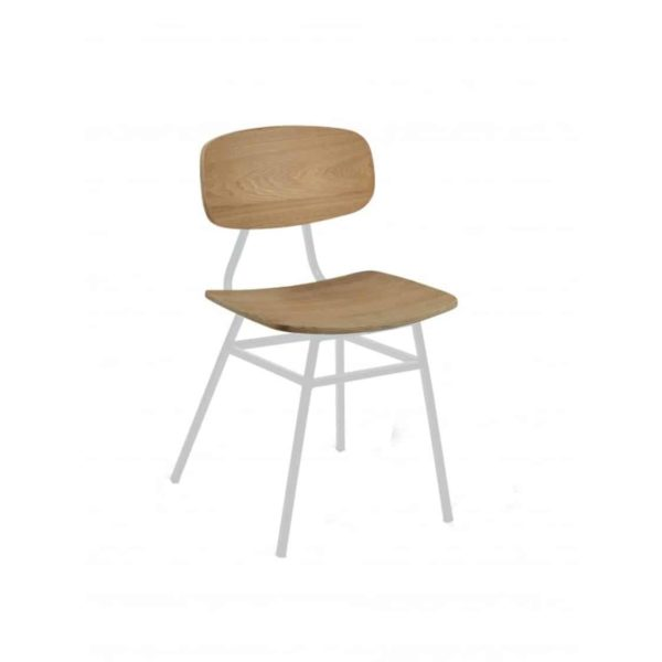 Florence Side Chair Wood White Finish DeFrae Contract Furniture Metal Legs