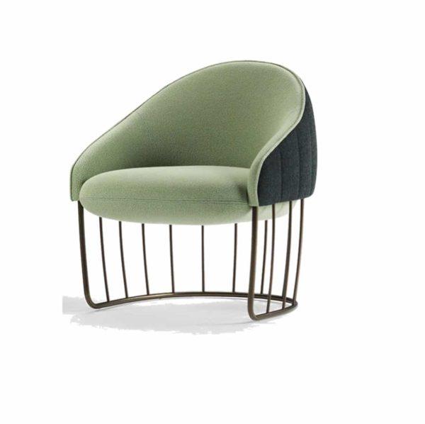 Tonella Lounge Chair Sancal DeFrae Contract Furniture Metal Vertical Bronze Frame