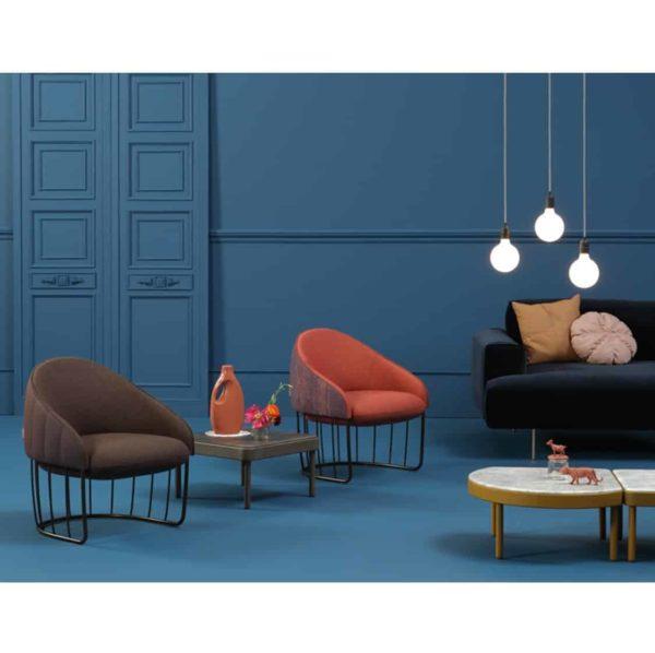 Tonella Lounge Chair Sancal DeFrae Contract Furniture Metal Vertical Bronze Frame In Situ