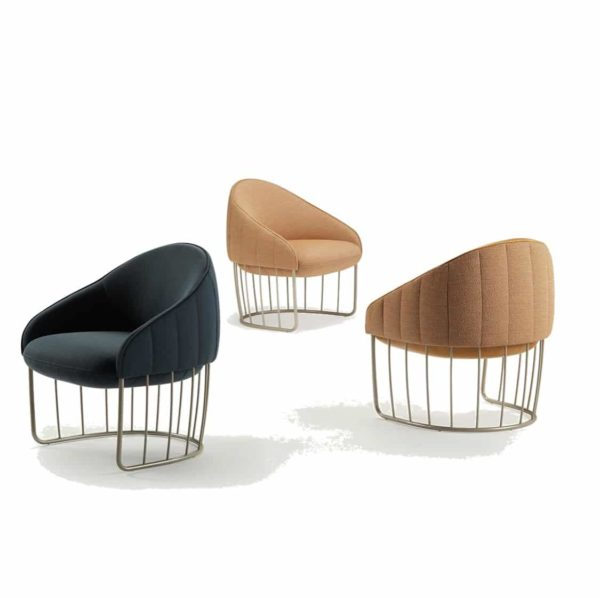 Tonella Lounge Chair Sancal DeFrae Contract Furniture Metal Vertical Frame Colours