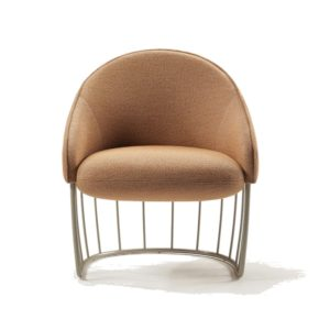 Tonella Lounge Chair Sancal DeFrae Contract Furniture Metal Vertical Frame Front View