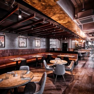 Glow side chairs and Louvre fluted back bar stools at Alchemist Canary Wharf by DeFrae Contract Furniture