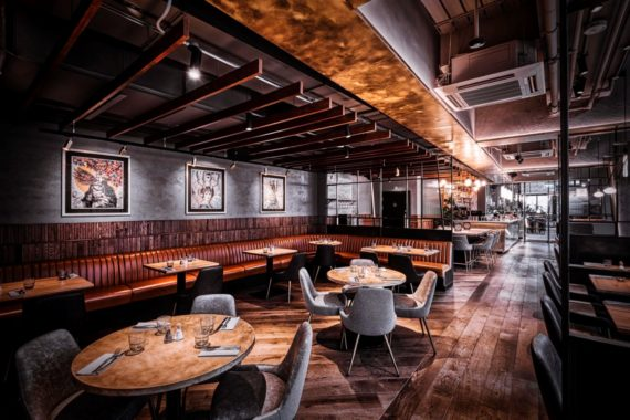 Products by DeFrae Contract Furniture. Glow side chairs and Louvre fluted back bar stools at Alchemist Canary Wharf by DeFrae Contract Furniture