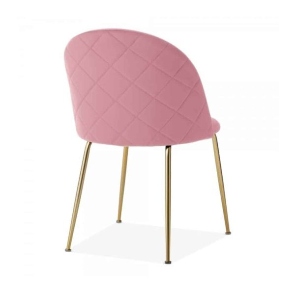 Heath Side Chair Brass Frame DeFrae Contract Furniture Blossom Pink Back View