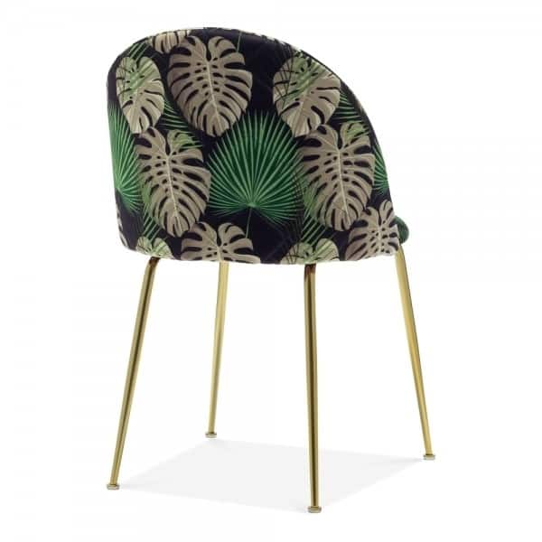 Heath Side Chair Brass Frame DeFrae Contract Furniture Botanical Print Back View