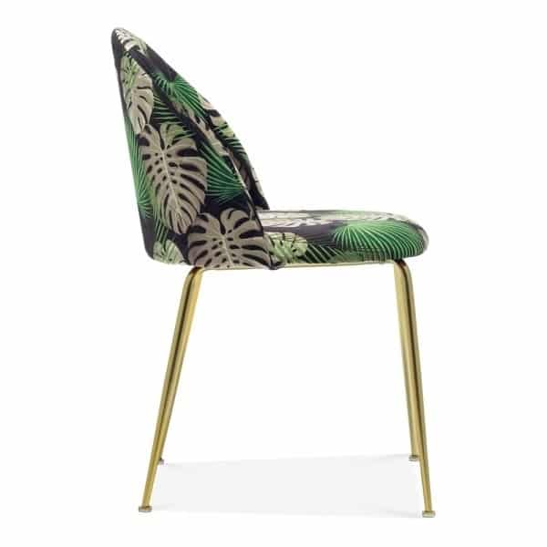 Heath Side Chair Brass Frame DeFrae Contract Furniture Botanical Print Side View