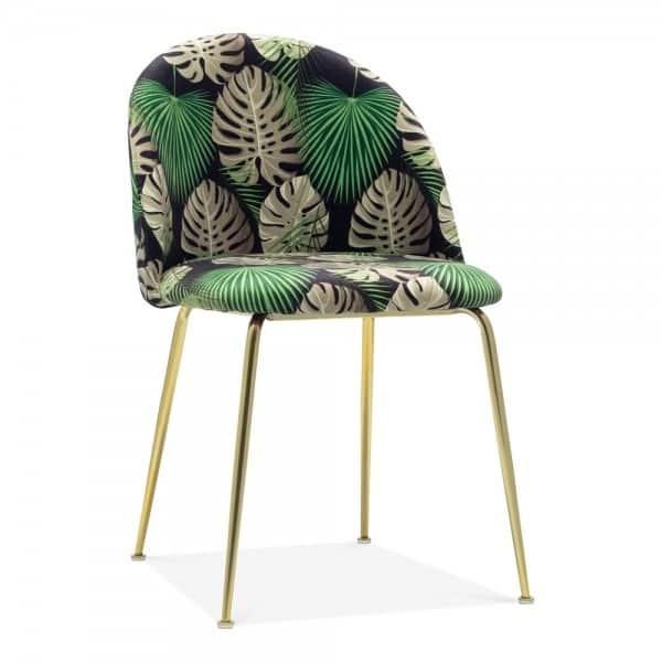 Heath Side Chair Brass Frame DeFrae Contract Furniture Botanical Print