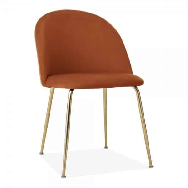 Heath Side Chair Brass Frame DeFrae Contract Furniture Burnt Orange