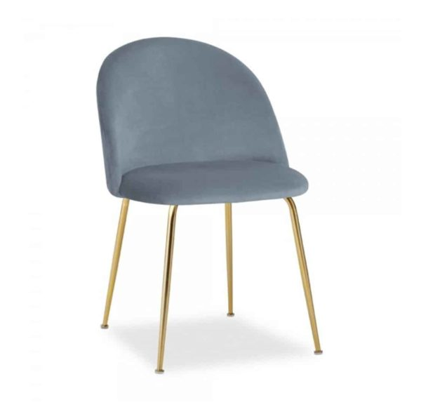 Heath Side Chair Brass Frame DeFrae Contract Furniture Dusty Blue