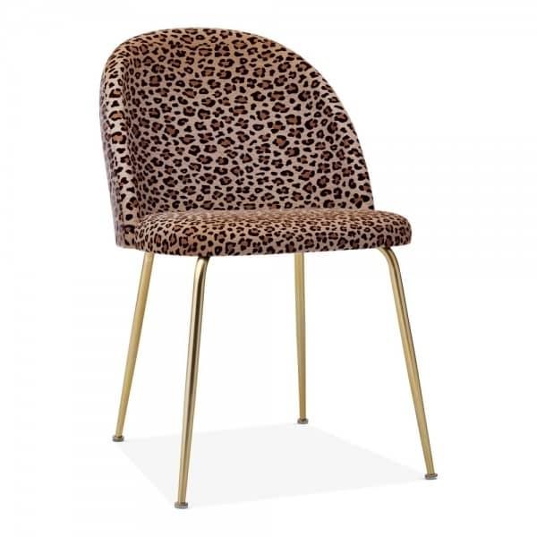 Heath Side Chair Brass Frame DeFrae Contract Furniture Leopard Print
