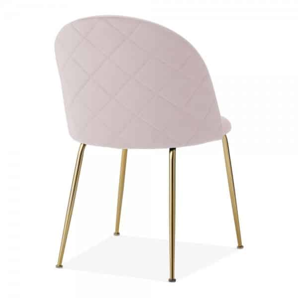 Heath Side Chair Brass Frame DeFrae Contract Furniture Pale Pink Back View
