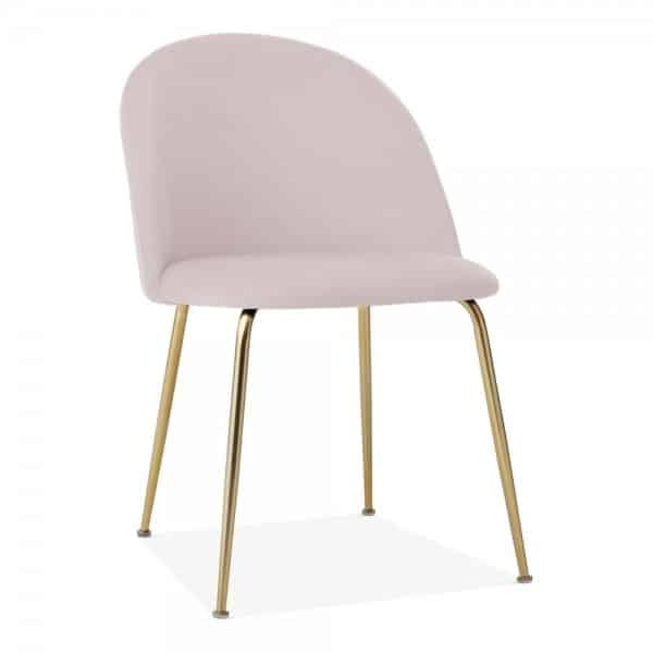 Heath Side Chair Brass Frame DeFrae Contract Furniture Pale Pink