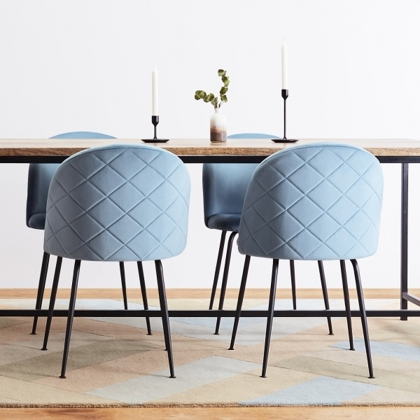 Heath Side Chair Brass Frame DeFrae Contract Furniture Powder Blue back
