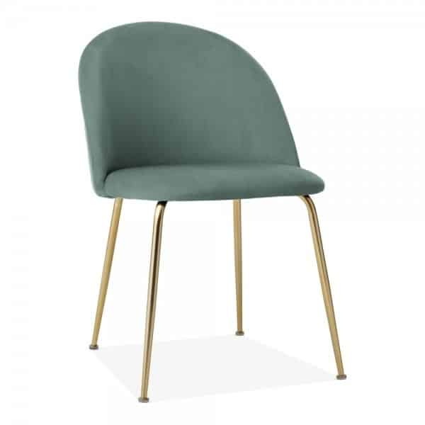 Heath Side Chair Brass Frame DeFrae Contract Furniture Sage Green
