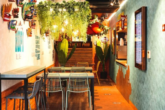 Nolita side chairs and bar stools with bespoke tables by DeFrae Contract Furniture at KK Street Food Croydon Boxpark