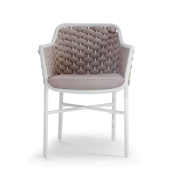 Panama Armchair Outside Restaurant Bar Coffee Shop Cafe DeFrae-Contract-Furniture Taupe and White