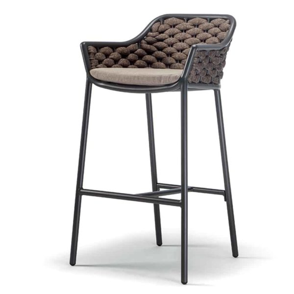 Panama Bar Stool DeFrae Contract Furniture for Outside Use Rope Effect