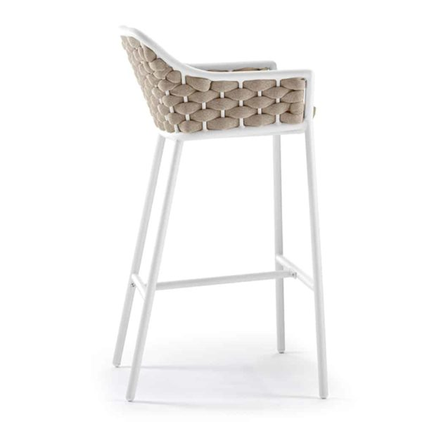 Panama Bar Stool DeFrae Contract Furniture for Outside Use Rope Effect White and Beige