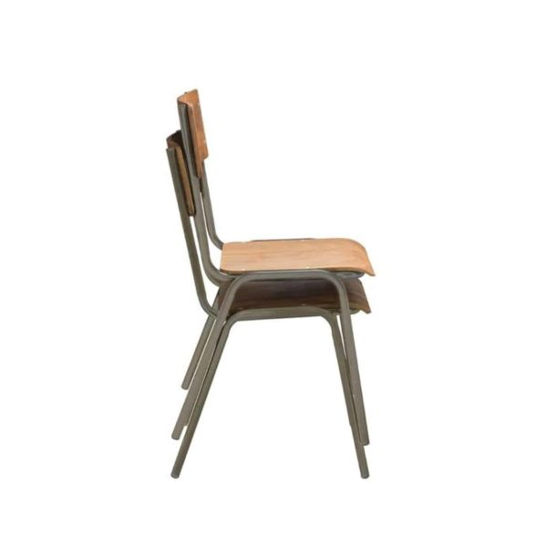 Classroom Side Chair DeFrae Contract Furniture Stackable Side View