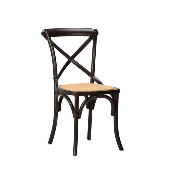 Gem Side Chair Cross Back Wooden Restaurant Chair DeFrae Contract Furniture Black