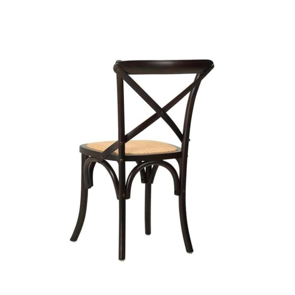 Gem Side Chair Cross Back Wooden Restaurant Chair DeFrae Contract Furniture Black Back