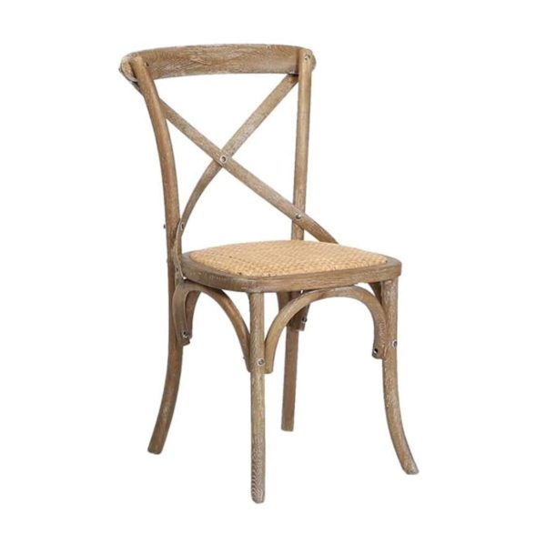 Gem Side Chair Cross Back Wooden Restaurant Chair DeFrae Contract Furniture Distressed Oak