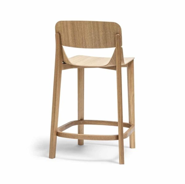 Leaf Bar Stool With Backrest Natual Wood Restaurant Chair Ton at DeFrae Contract Furniture
